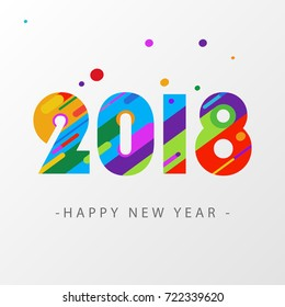 Happy new year 2018 design card. Modern colorful, creative number