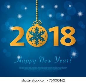 新年快乐 2018 设计与金色圣诞球雪花。 矢量蓝色问候插图
