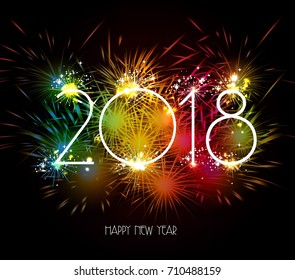 Happy New Year 2018 Fireworks colorful