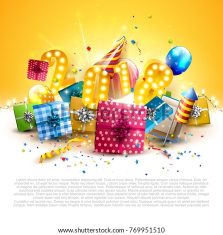 happy new year 2018 flyer with colorful gift boxes balloons and party hat on