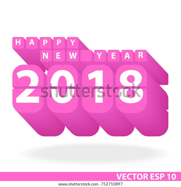 Happy New Year 2018 Font Design Stock Vector (Royalty Free