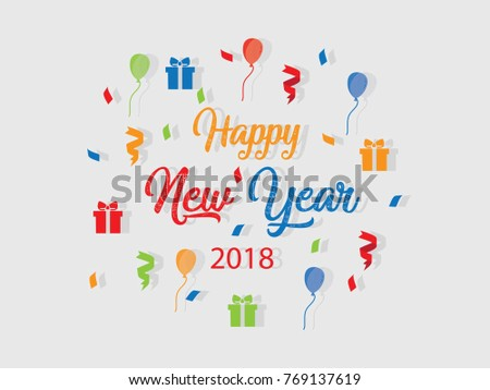 Happy New Year 2018 Fun Colorful Stock Vector (Royalty Free ...