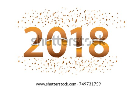 happy new year 2018 with glitter isolated on white background text design gold colored