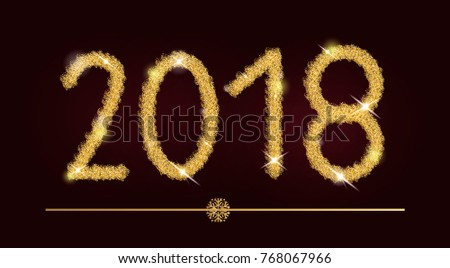 happy new year 2018 glitter gold text christmas greeting card glittering numbers design template golden calligraphy