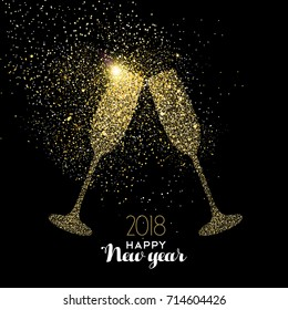 Happy new year 2018 gold champagne glass celebration toast made of realistic golden glitter dust. Ideal for holiday card or elegant party invitation. EPS10 vector.