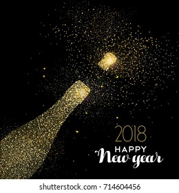 Happy new year 2018 gold champagne bottle celebration made of realistic golden glitter dust. Ideal for holiday card or elegant party invitation. EPS10 vector.