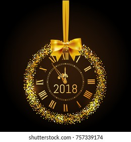 Happy New Year 2018 gold vintage watch. Creeting Happy New Year gold clock with bow and circle glitter and sparkle frame. Vector illustration.