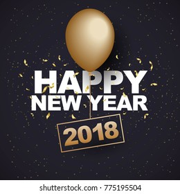 Happy new year 2018 with gold balloon