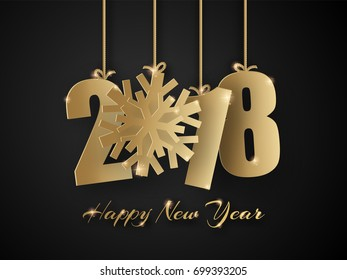 Happy New Year 2018. Golden numbers with snowflake isolated on black background with sparks. Vector greeting card.