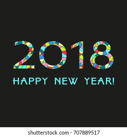 Happy New Year 2018. Greeting card. Vector illustration.