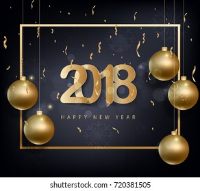 Happy new year 2018 greeting card with golden background