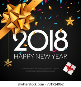 Happy New Year 2018 greeting card. Holiday flyer or poster gold luxury background for new year christmas celebration.