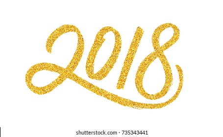 Happy New Year 2018 greeting card design template with golden text on white background. Calligraphy for chinese year of the dog. Vector illustration