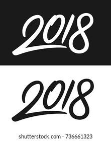Happy New Year 2018 greeting card template. Calligraphic number 2018 with smooth contour on black and white backgrounds. Vector illustration.