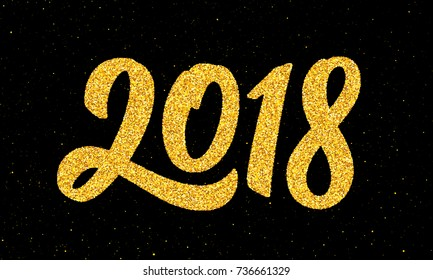 Happy New Year 2018 greeting card design template with gold text on black background. Vector illustration