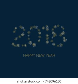 Happy New Year 2018 greeting card from snowflakes