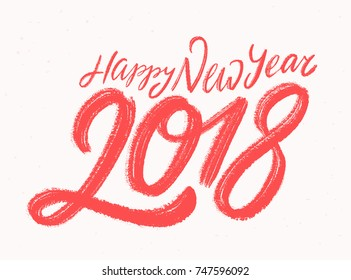 Happy New Year 2018. Greeting card.
