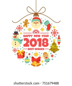 Happy New Year 2018 greeting card. Vector illustration with Christmas toy consisting of Christmas symbols and icons, including Santa, presents, snowman, gingerbread man and bells, isolated on white.