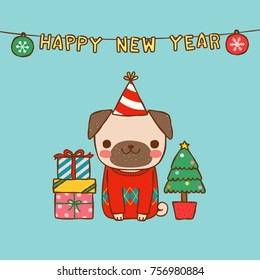 Happy new year 2018 greeting card. Dog chinese zodiac symbol of the year. Cute cartoon pug cerebrating. Flat design. Vector Illustration.