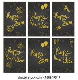happy new year 2018 greeting printable cards modern calligraphy black and gold