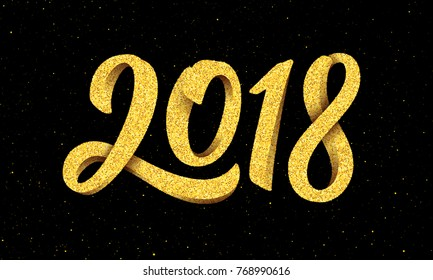 Happy New Year 2018 greeting card design with gold 3D typography on black background with glitters. Calligraphy for chinese year of the dog. Vector illustration
