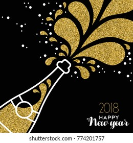 Happy New Year 2018 greeting card illustration of champagne party bottle with gold glitter splash. EPS10 vector.