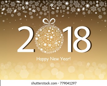 Happy New Year 2018 greeting gold design. Vector illustration with text, snowflakes and bokeh light