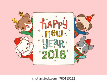 Happy new year 2018 greeting card. Dog chinese zodiac symbol of the year. Cute cartoon dogs in various winter costumes cerebrating with text. Flat design. Colored vector illustration.