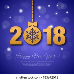 Happy New Year 2018 greeting card with golden christmas ball and snowflake.
