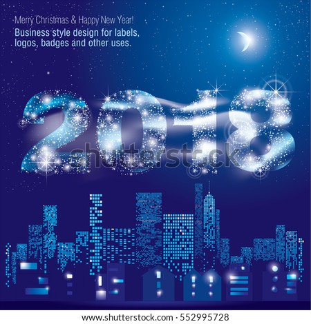 happy new year 2018 greeting card city lights vector illustration of city with lighting