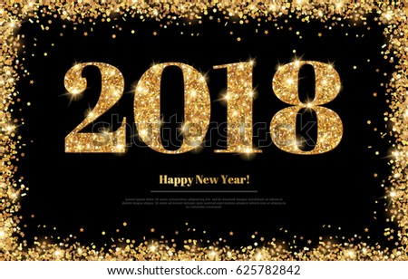 happy new year 2018 greeting card with gold numbers on black background vector illustration