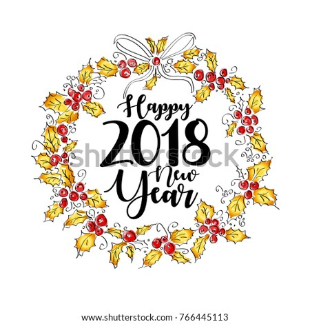 happy new year 2018 greeting wreath with lettering vintage vector illustration