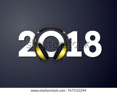 happy new year 2018 headphones background decoration greeting card headphone design template 2018 headphone confetti