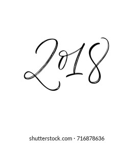 Happy new year 2018. Holiday lettering element. Ink illustration. Modern brush calligraphy. Isolated on white background.