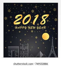 happy new year 2018 illustration of paris landmarks gold and black color tone