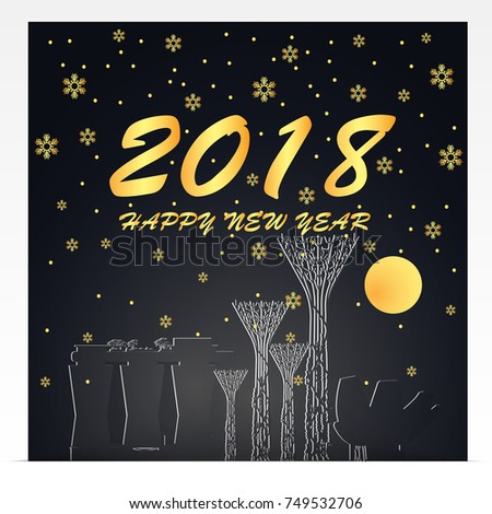 happy new year 2018 illustration of singapore landmarks gold and black color tone