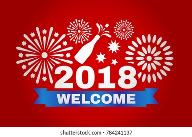 Happy New Year 2018. Inscription and fireworks in vector illustration.