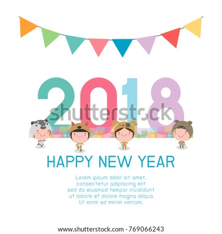 happy new year 2018 kids background happy child with happy new year 2018 dogs