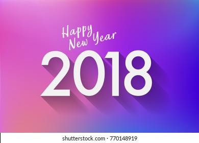 Happy New Year 2018 letter design on modern gradient background