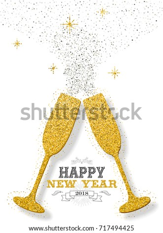 Happy New Year 2018 Luxury Gold Stock Vector (Royalty Free ...