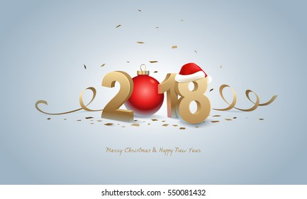 Happy New Year 2018 and Merry Christmas. Golden 3D numbers with Santa hat, red Christmas ball and confetti on a bright background.