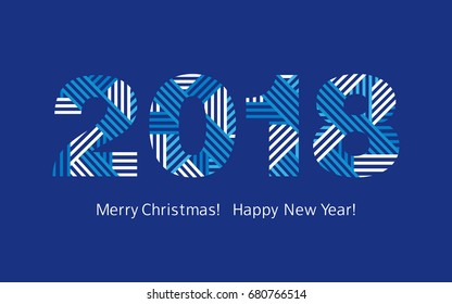Happy New Year 2018. Merry Christmas.  Congratulations, greeting card. Vector.