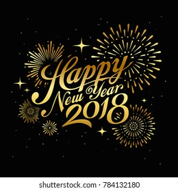 Happy new year 2018 message with firework gold concept at night background, vector illustration