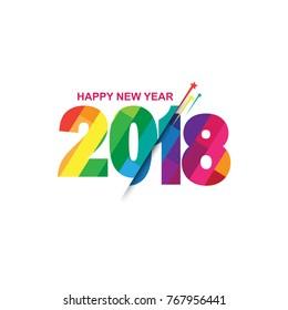 Happy New Year 2018 Modern text design vector illustration