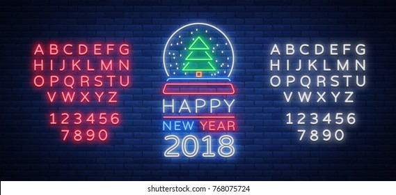Happy new year 2018 is a neon sign. Neon symbol for your New Year's projects, greetings cards, flyers, banners. Bright festive signboard, luminous advertising. Vector illustration. Editing neon sign.