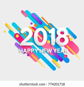 Happy New Year 2018 numbers typography greeting card with flat geometric 2d gradient shapes in motion. EPS10 vector.