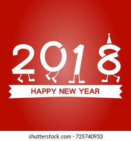 happy new year 2018 on the red background