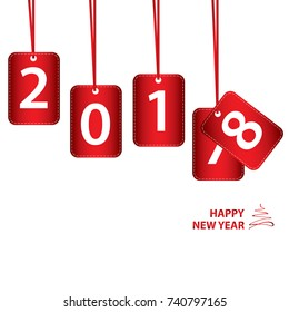 Happy New Year 2018 on red sign isolated on white background.