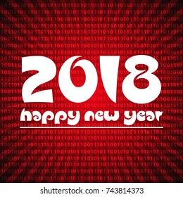 happy new year 2018 on red stripped binary code background eps10