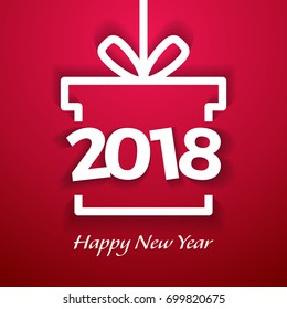 Happy new year 2018 paper text Design in red background